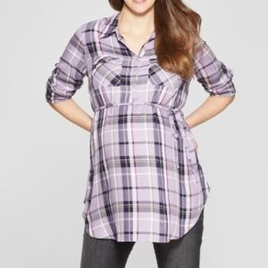 Maternity Plaid Long Sleeve Popover Tunic